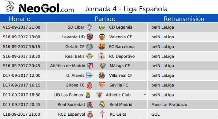 Jornada 4 Liga Española 2017