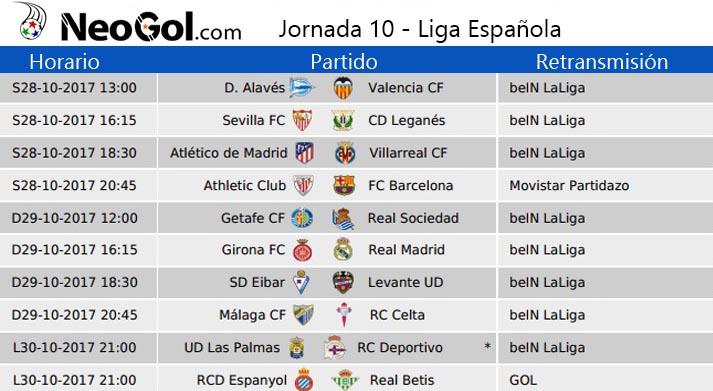 Jornada 10 Liga Española 2017