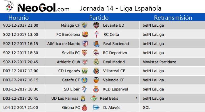Jornada 14 Liga Española 2017