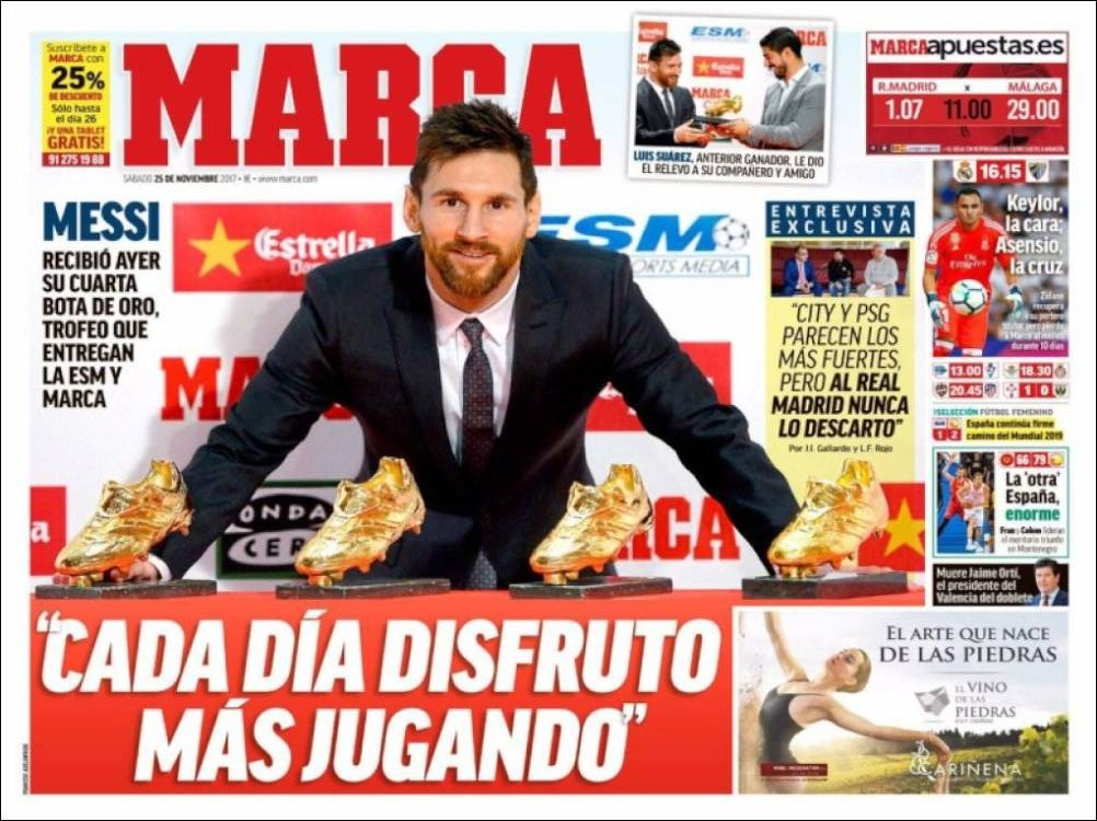 Messi cuarta Bota de Oro