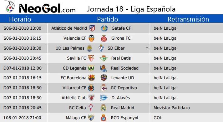 Jornada 18 Liga Española 2018