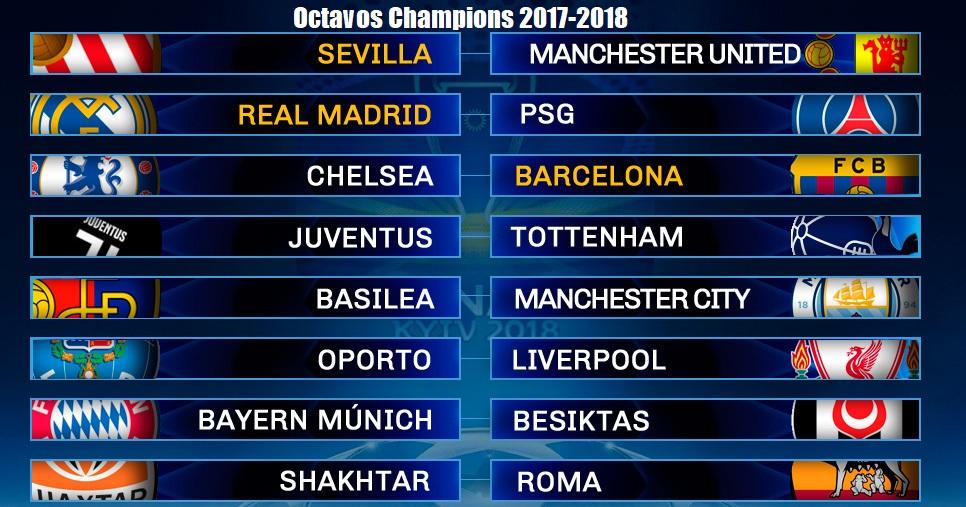 Calendario Del Barca.Calendario Octavos Champions League 2017 2018 Partidos Y Horarios