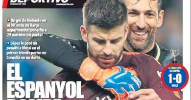 Adiós invicto, el Barcelona cae ante el Espanyol, hoy Leganés-Real Madrid | Las portadas