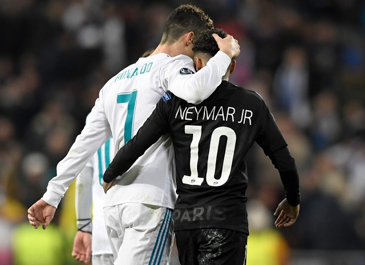 cristiano ronaldo y neymar real madrid psg champions league 2018