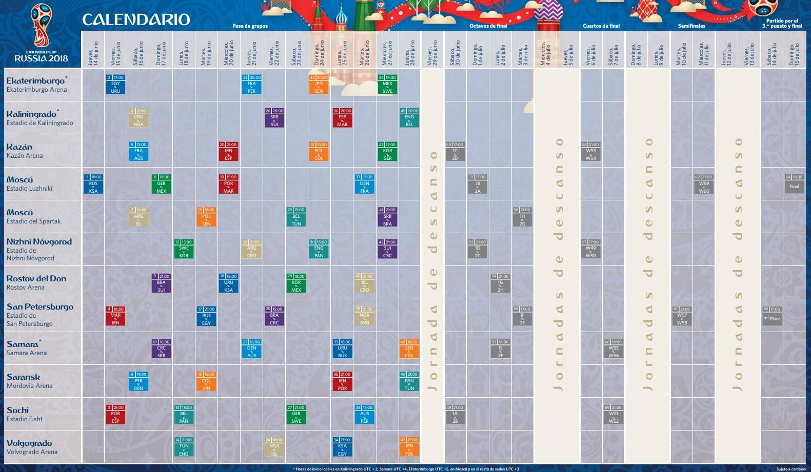 Calendario Rusia 2018 PDF Fixture ficchur del mundial rusia 2018