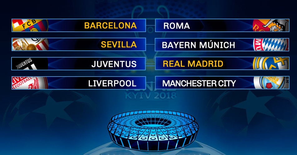 Partidos cuartos champions league 2018 calendario completo for Cuartos de final champions