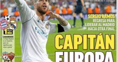 Ramos Capitán Europa, Masia Power, hoy Liverpool-Roma   Las Portadas
