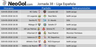 Jornada 38 Liga Española 2018