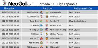 Jornada 37 Liga Española 2018