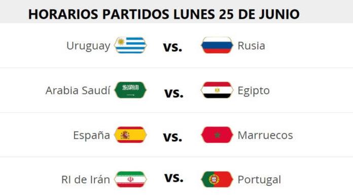 Partidos Lunes 25 Junio Mundial Rusia