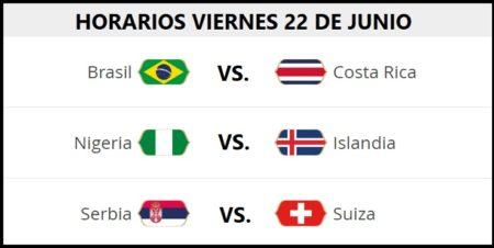 Partidos Viernes 22 Junio Mundial Rusia 2018. Jornada 9   Horarios y TV