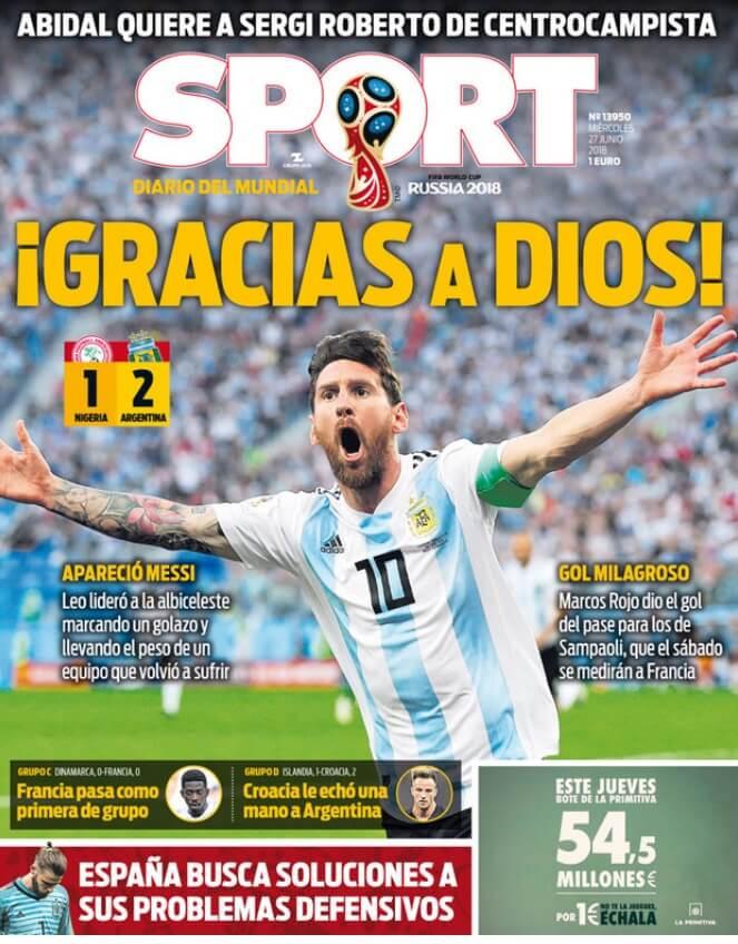 Argentina clasifica octavos Mundial Rusia portadas