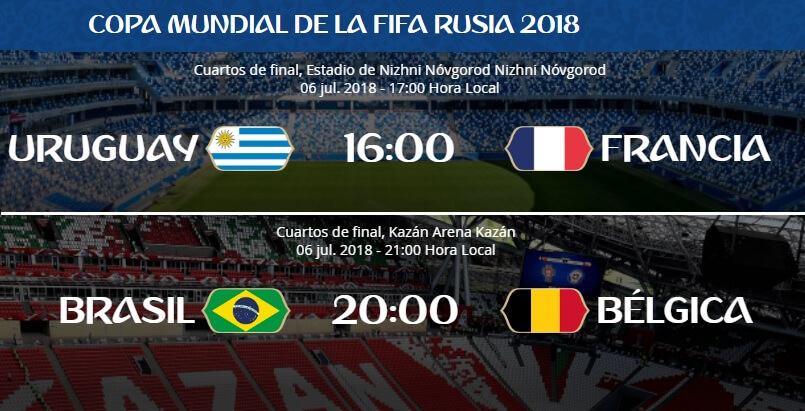 Alineaciones Uruguay-Francia y Brasil-Bélgica | Cuartos de Final