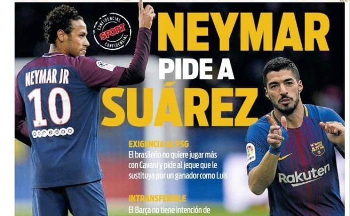 Neymar pide a Suárez