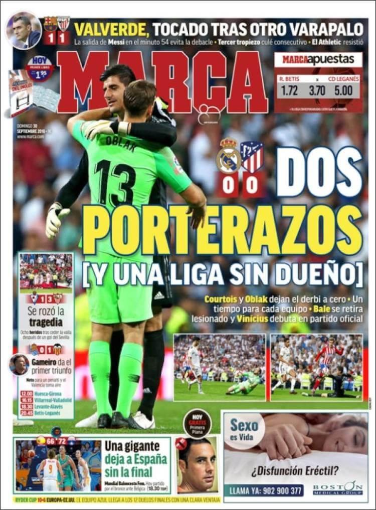 Portada prensa deportiva, diario Marca