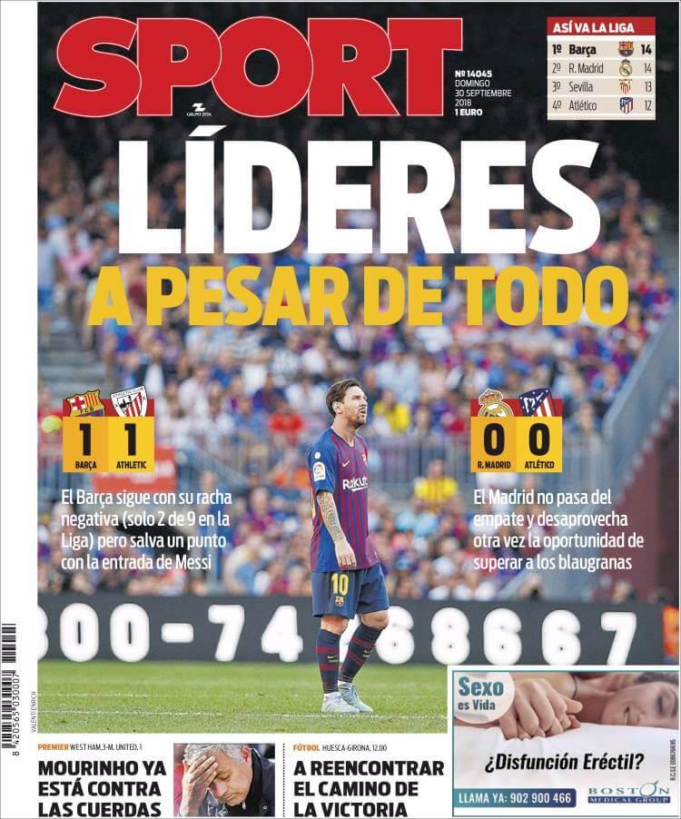 Portada prensa deportiva, diario Sport