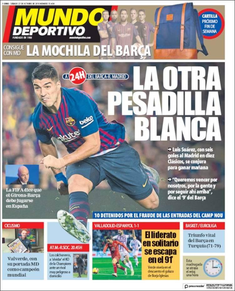 Portada Mundo Deportivo 27/10/2018