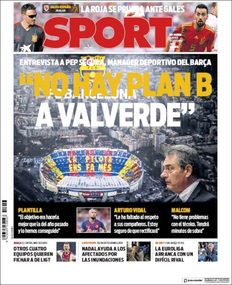 Portada diario Sport 11/10/2018