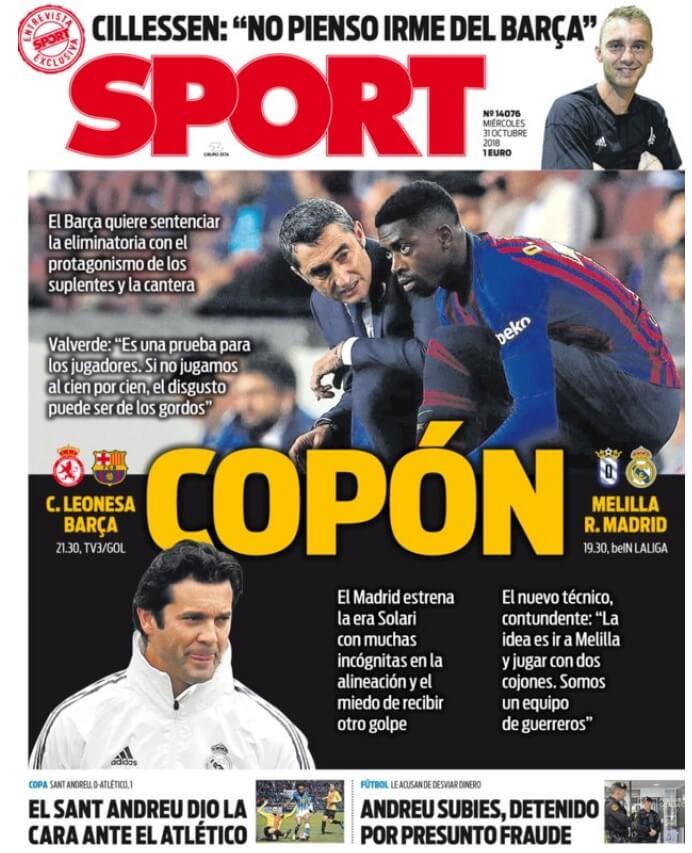 Portada Sport 31/10/2018