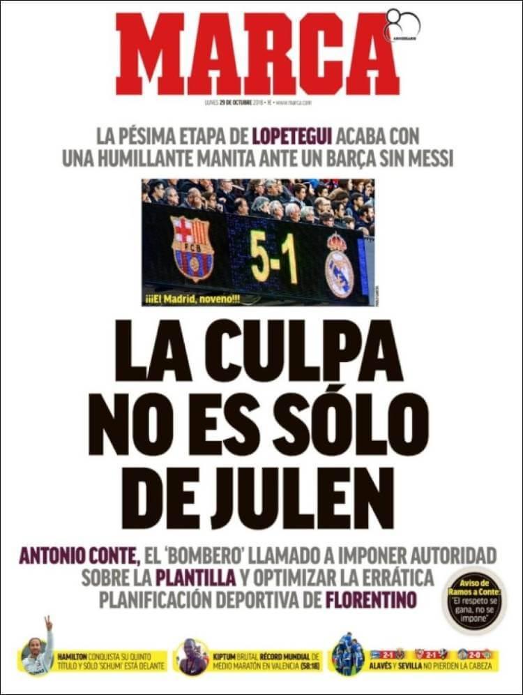 Portada Marca 29/10/2018 | El Clásico Barça 5-1 Madrird