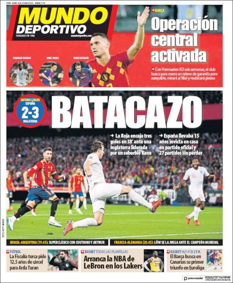 Portada Mundo Deportivo 16/10/2018