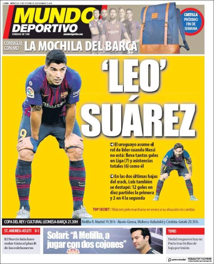 Portada Mundo Deportivo 31/10/2018