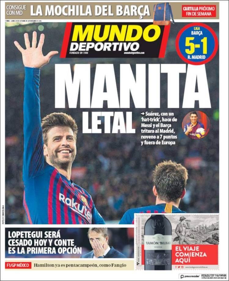 Portada Mundo Deportivo 29/10/2018 | El Clásico Barça 5-1 Madrird