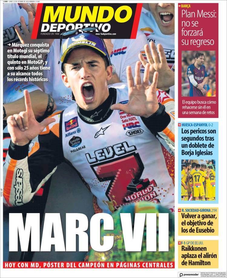Portada Mundo Deportivo 22/10/2018