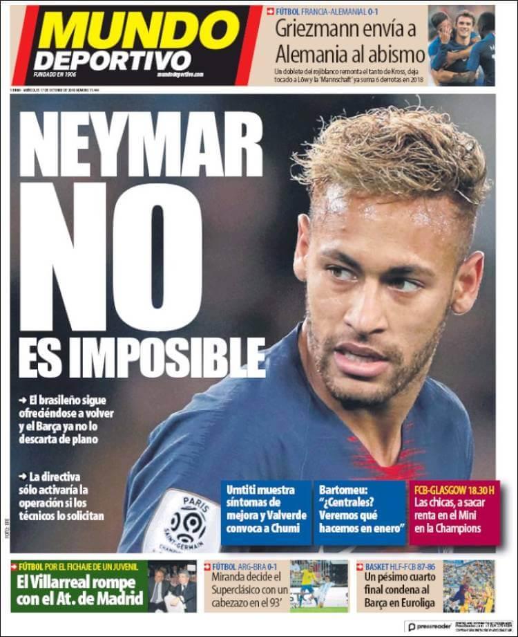 Portada Mundo Deportivo 17/10/2018