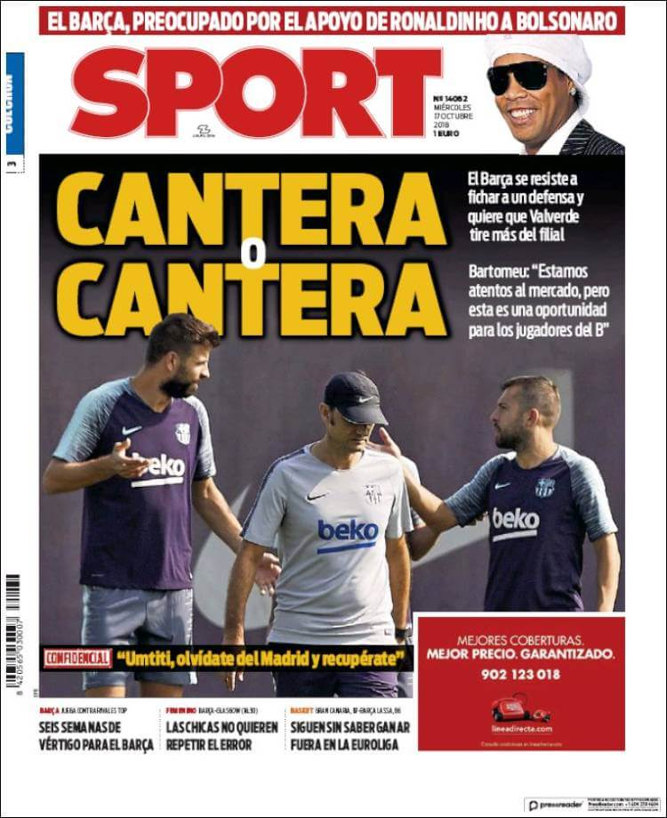 Portada Sport 17/10/2018