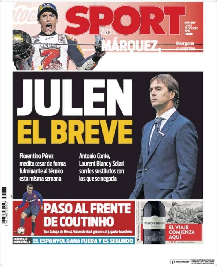 Portada Sport 22/10/2018