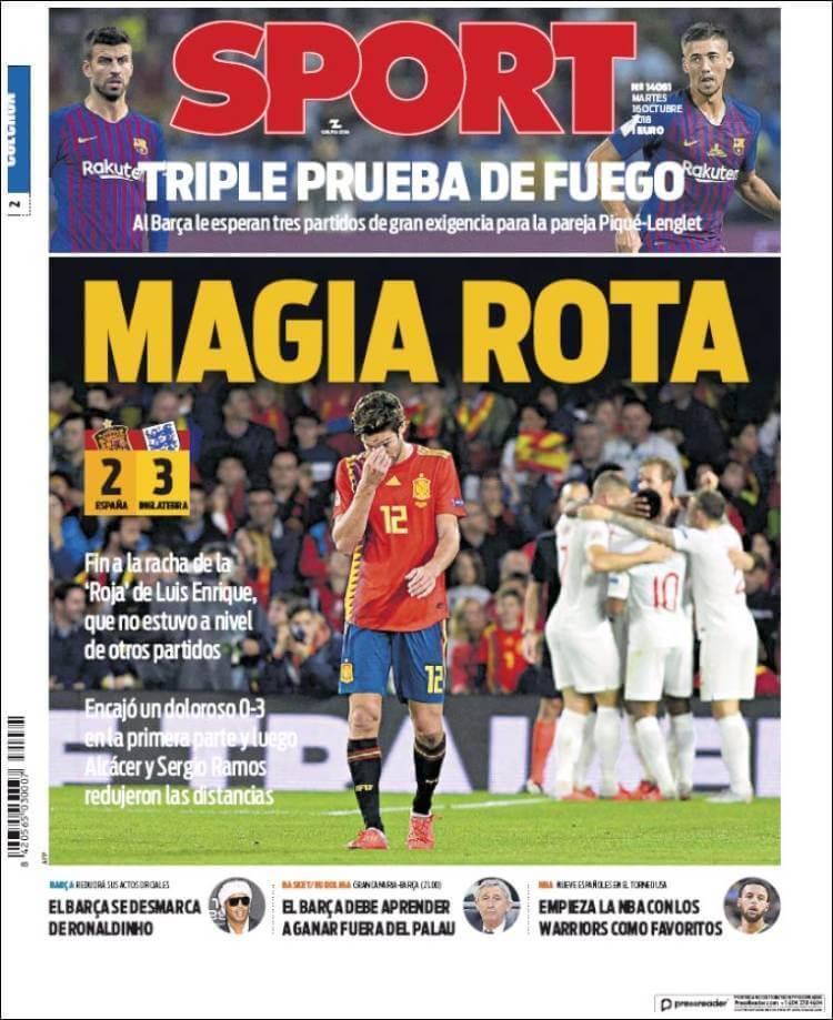 Portada Sport 16/10/2018