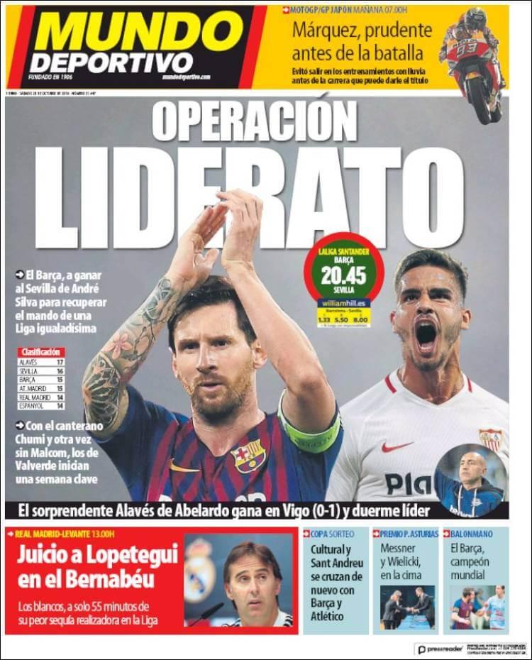 Portada Mundo Deportivo 20-10-2018
