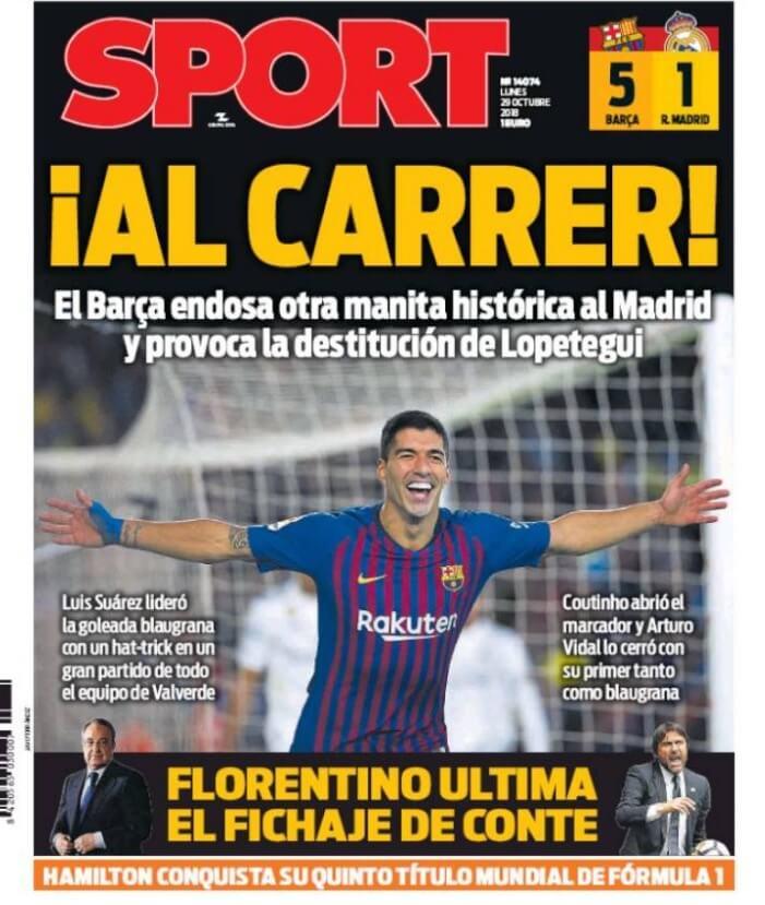 Portada Sport 29/10/2018 | El Clásico Barça 5-1 Madrird