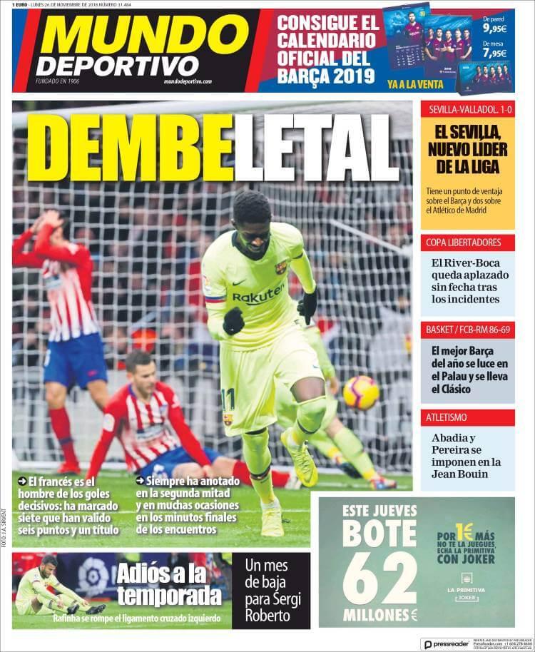 Portada Mundo Deportivo 26/11/2018
