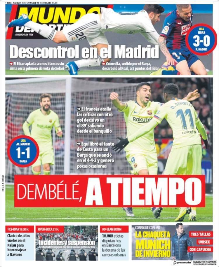 Portada Mundo Deportivo 25/11/2018