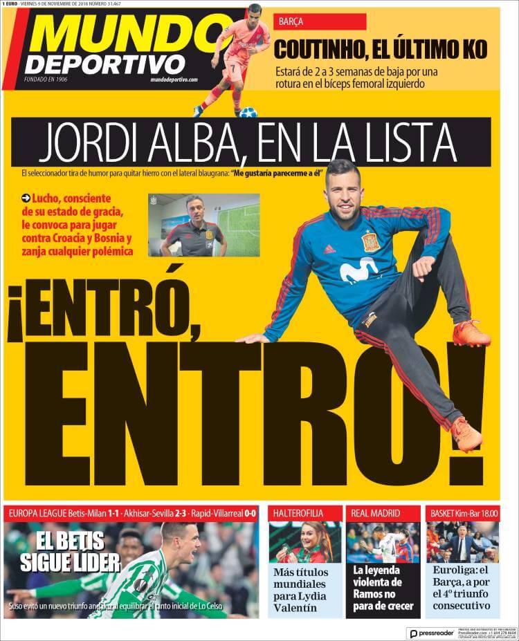 Portada Mundo Deportivo 9/11/2018