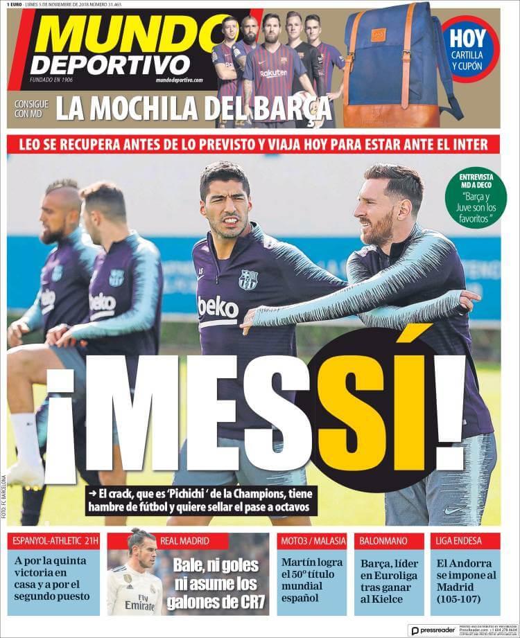 Portada Mundo Deportivo 5/11/2018