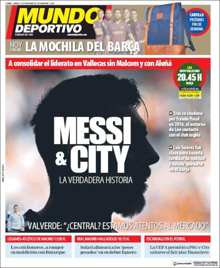 Portada Mundo Deportivo 3/11/2018