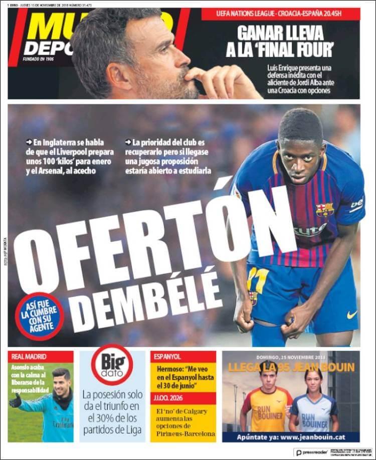 Portadas Mundo Deportivo 15/11/2018