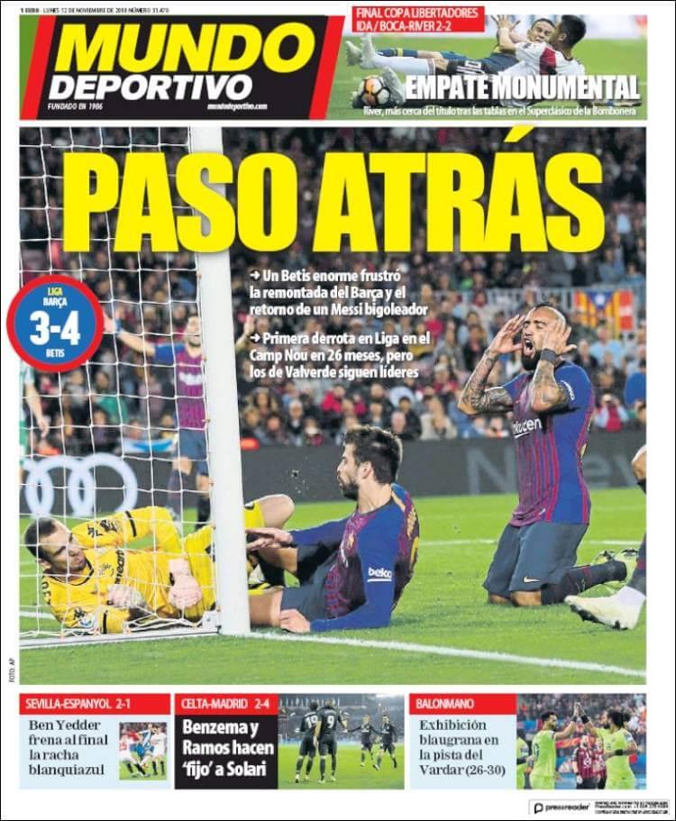 Portada Mundo Deportivo 12/11/2018