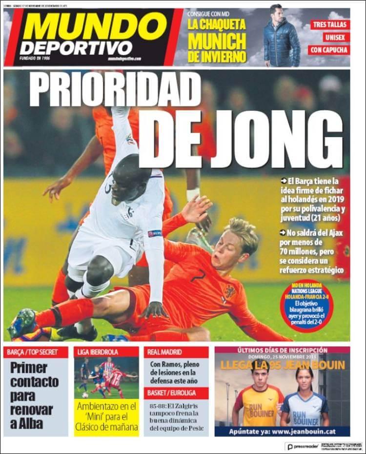 Portada Mundo Deportivo 17/11/2018