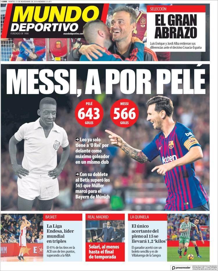 Portada Mundo Deportivo 13/11/2018