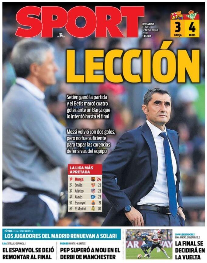 Portada Sport 12/11/2018