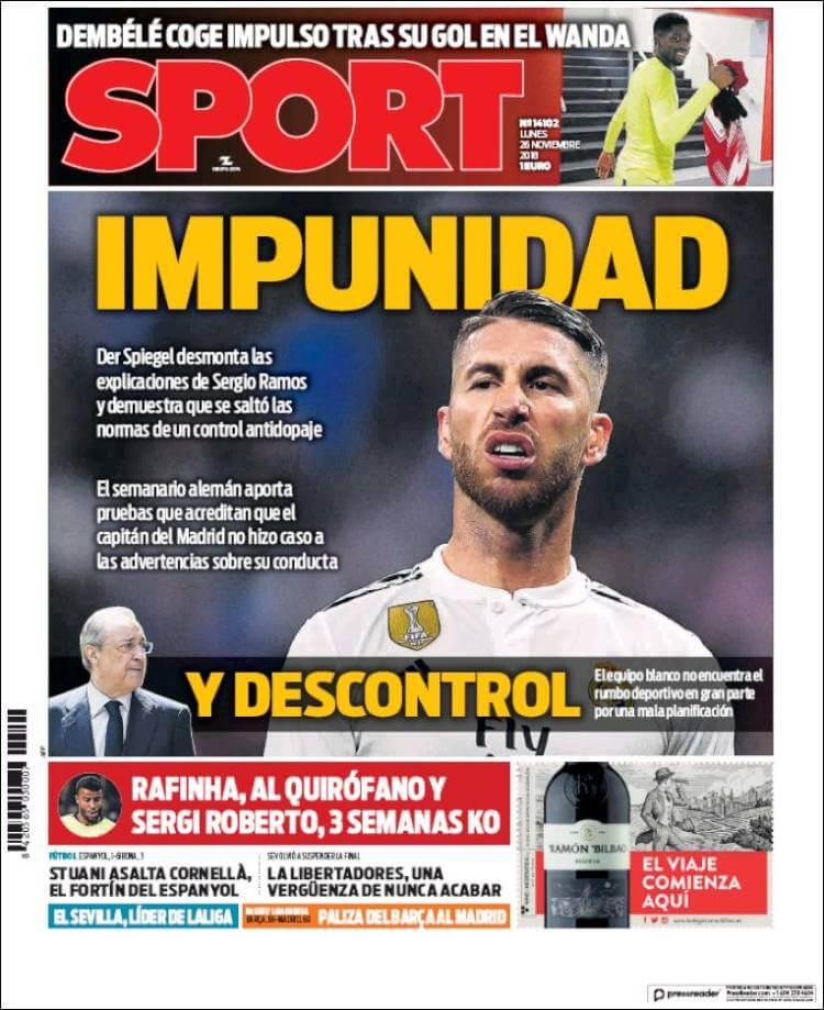 Portada Sport 26/11/2018