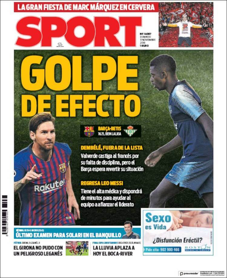Portada Sport 11/11/2018