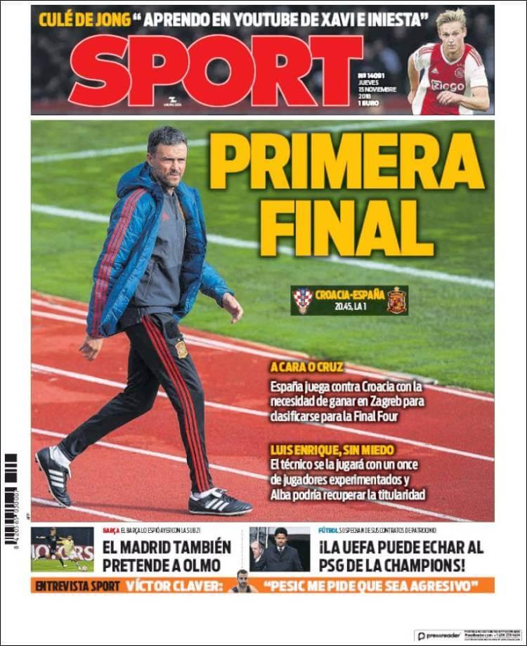 Portada Sport 15/11/2018
