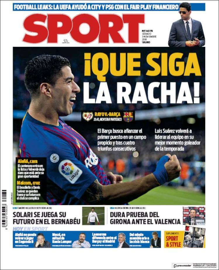 Portada Sport 3/11/2018