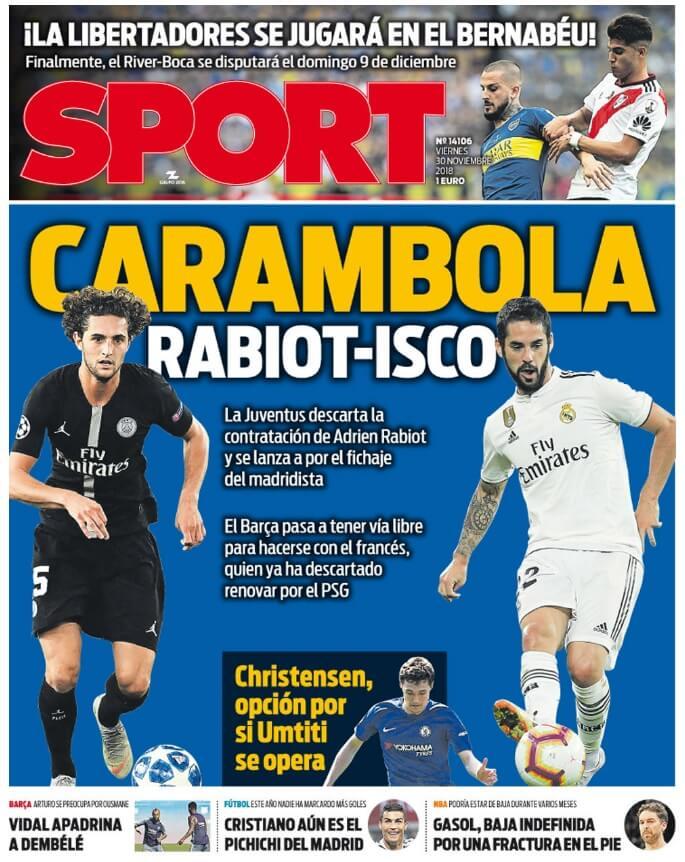Portada Sport 30/11/2018