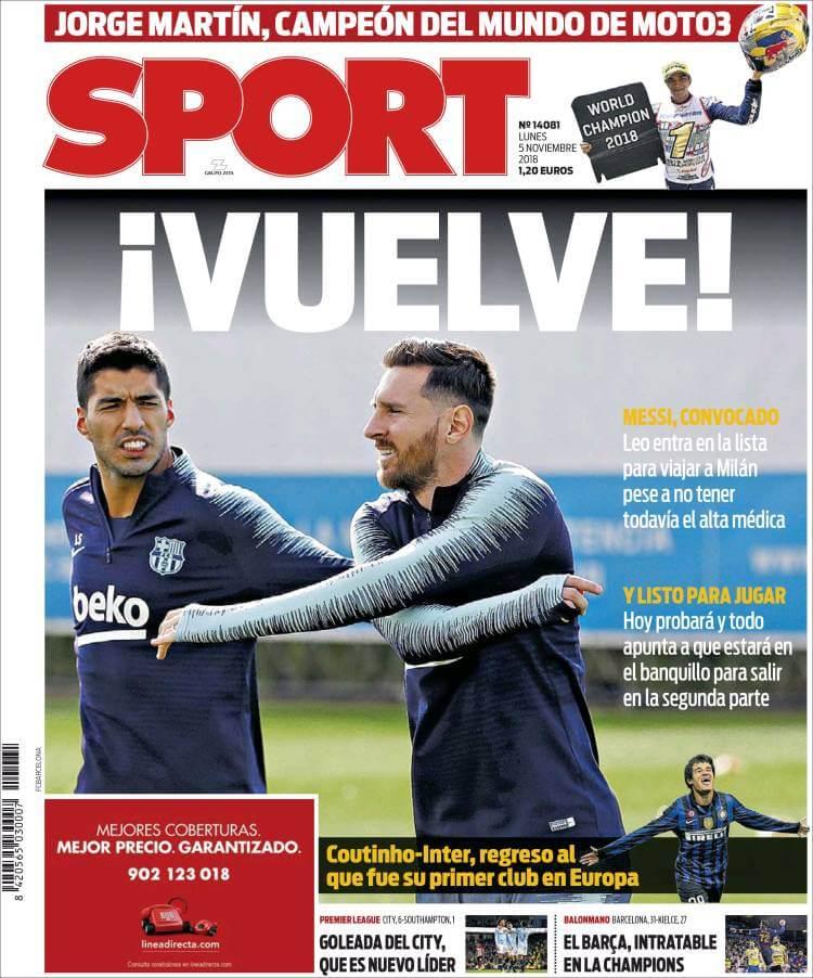 Portada Sport 5/11/2018